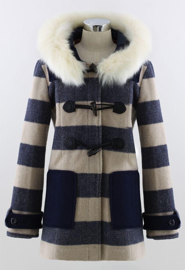 Faux Fur Hooded Navy Duffle Coat