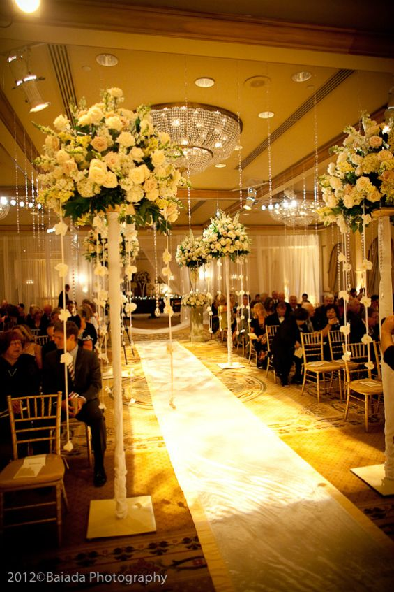 Elegant white wedding decor wedding aisle decorations for Hotel wedding decor