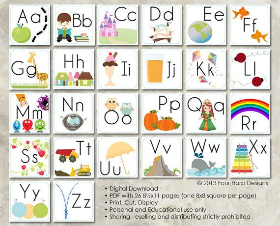 Alphabet Wall Cards - DIY Printable for preschool, early elementary