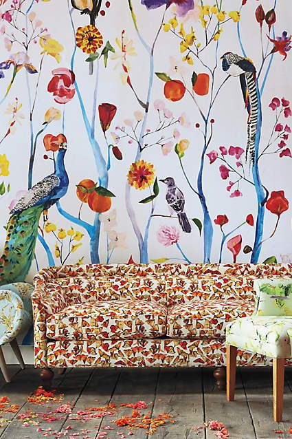 garden chinoiserie mural chinoiserie anthropologie and dressing room. Black Bedroom Furniture Sets. Home Design Ideas