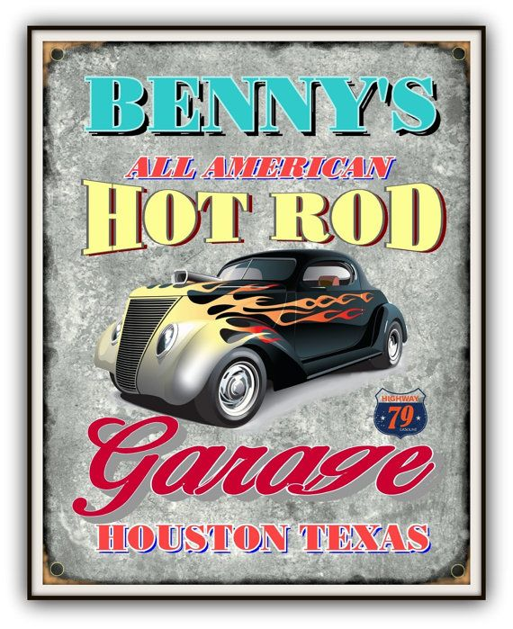 Personalized Sign GARAGE HOT ROD Shop Print By