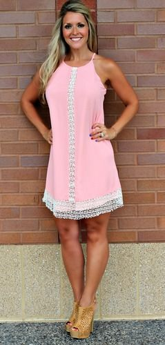 Accented with Crochet Dress- Pink