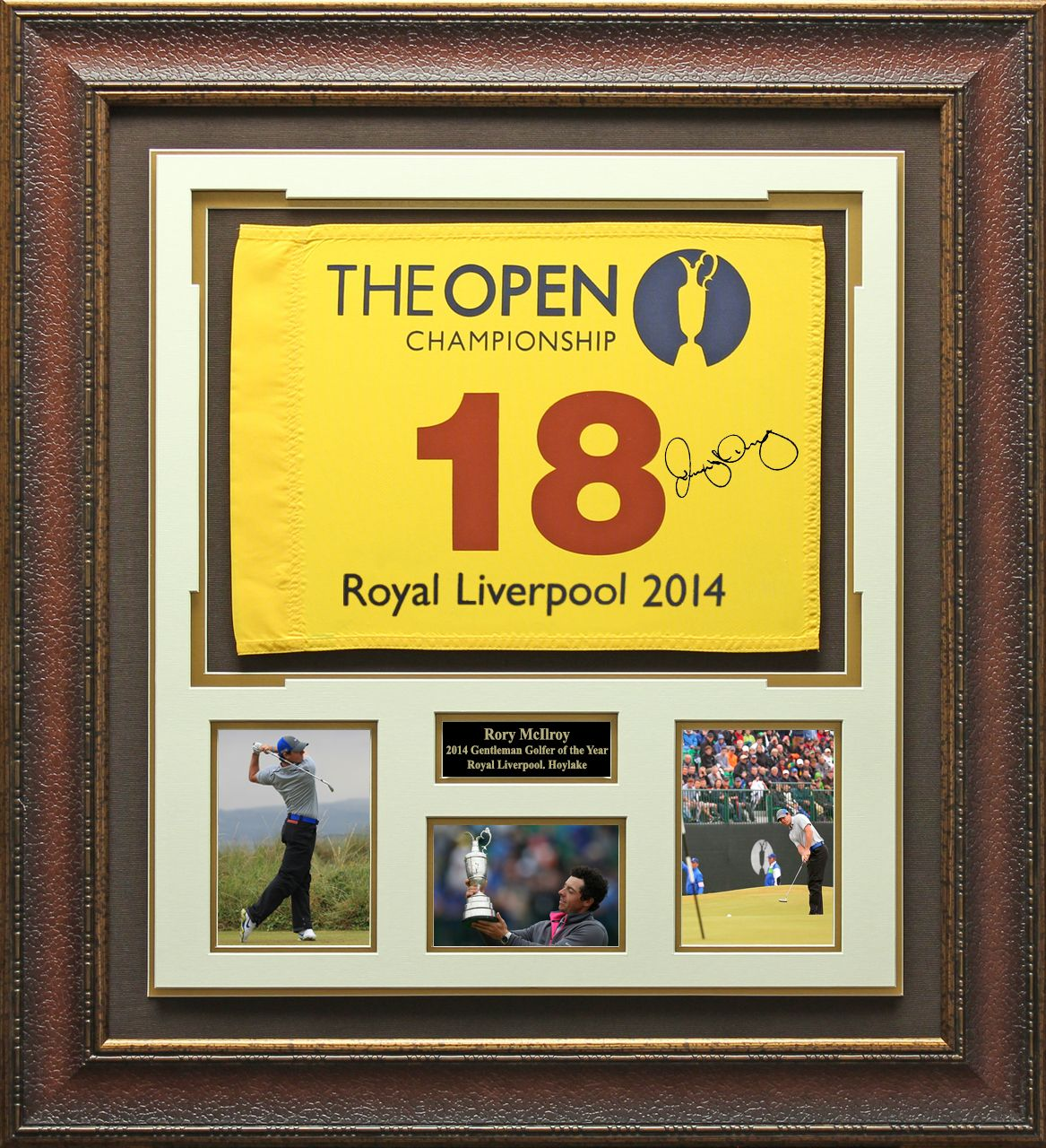 Rory Mcilroy Signed 2014 British Open Flag Display Flag Display Framed Flag British Open