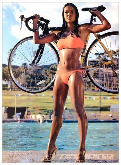 Hawaiian Triathlete Holding Her Racing Bike