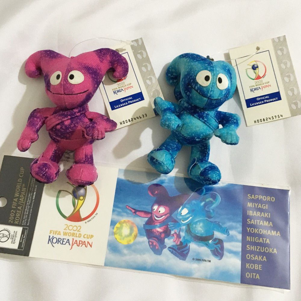 Fifa World Cup Korea Japan 2002 Set Nik Kaz Mascot Plush Toy Doll Sticker Ebay