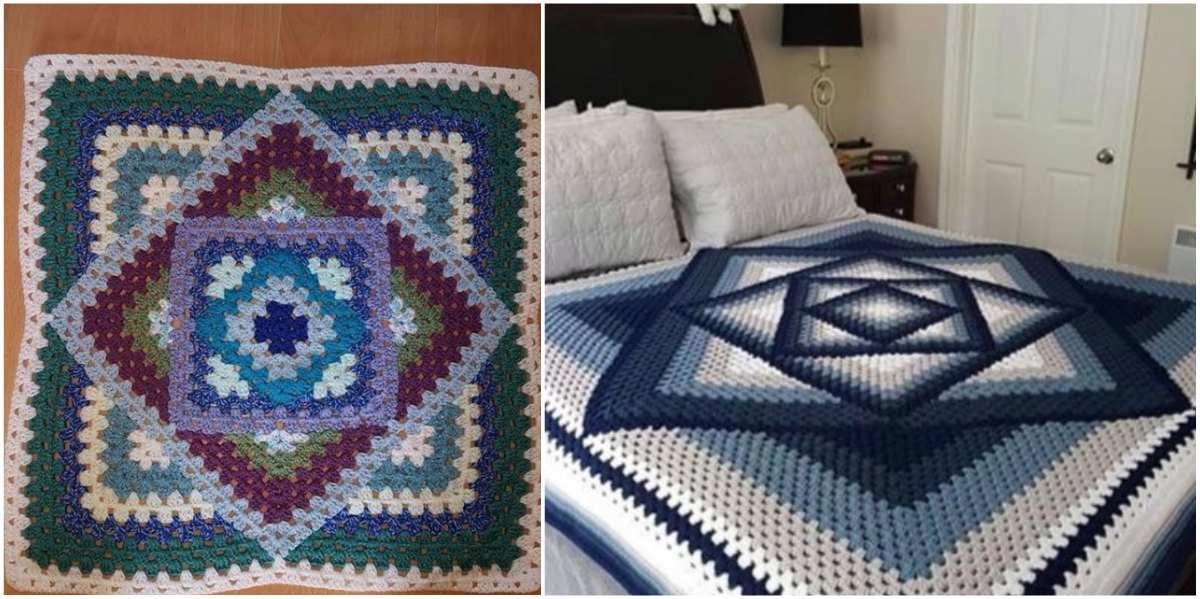 Kaleidoscope Crochet Granny Blanket Free Pattern | Deckchen, Muster ...