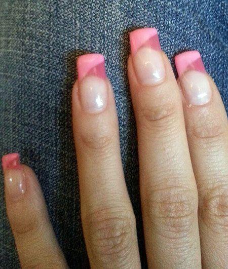 uas de gel decoradas con esmaltes permanentes rosas