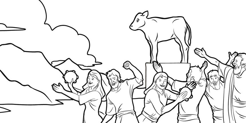 moses golden calf coloring pages - photo#24