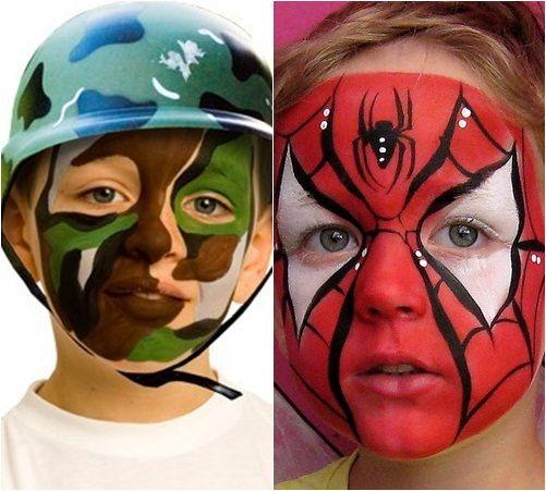 Maquillaje de demonio para nios disfraz diablo rojo for Cara pintada diablo