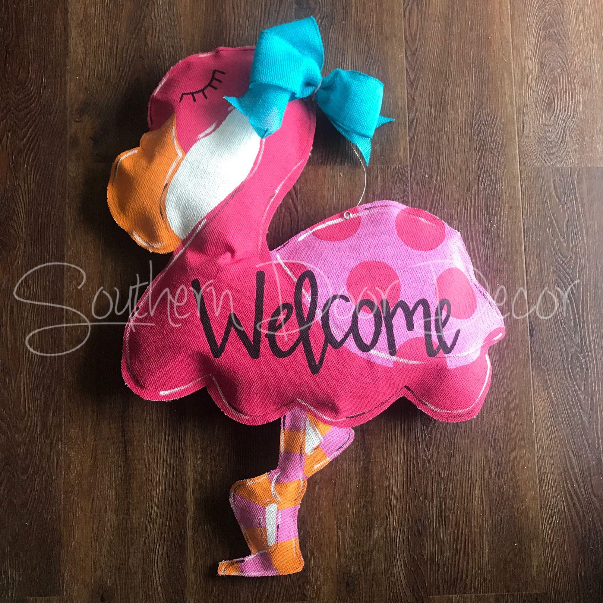 Flamingo Door Hanger Door Hangers Crafts Burlap Door Hangers