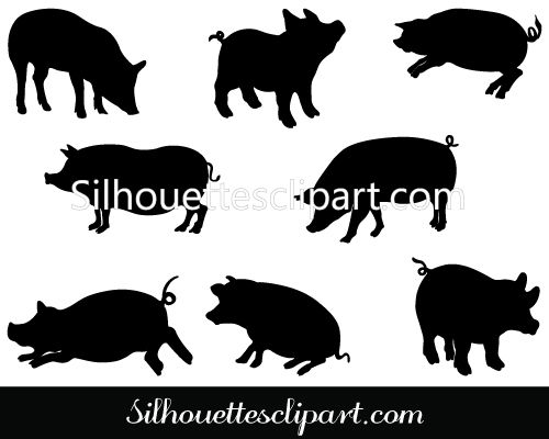 Buffalo Silhouette Clip Art Pack Template Pig Silhouette Silhouette Clip Art Animal Silhouette