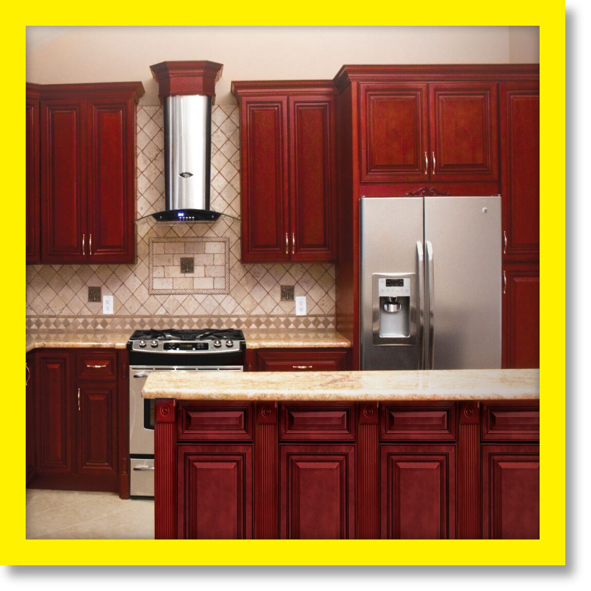 Kitchen Cabinets Cherryville All Wood Cherry Stained Maple Group Sale Kcch3 Wooden Kitchen Cabinets Kitchen Cabinets Custom Kitchen Cabinets