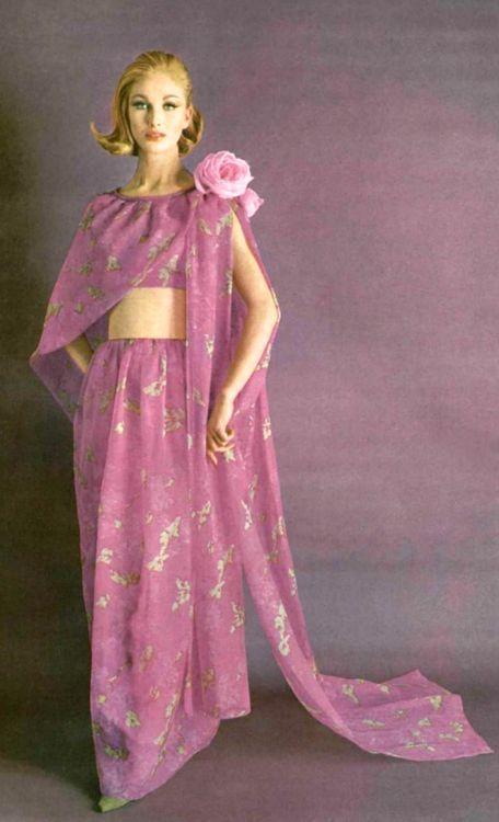 Pierre Cardin, 1962 fashion style designer color photo print ad pink ...