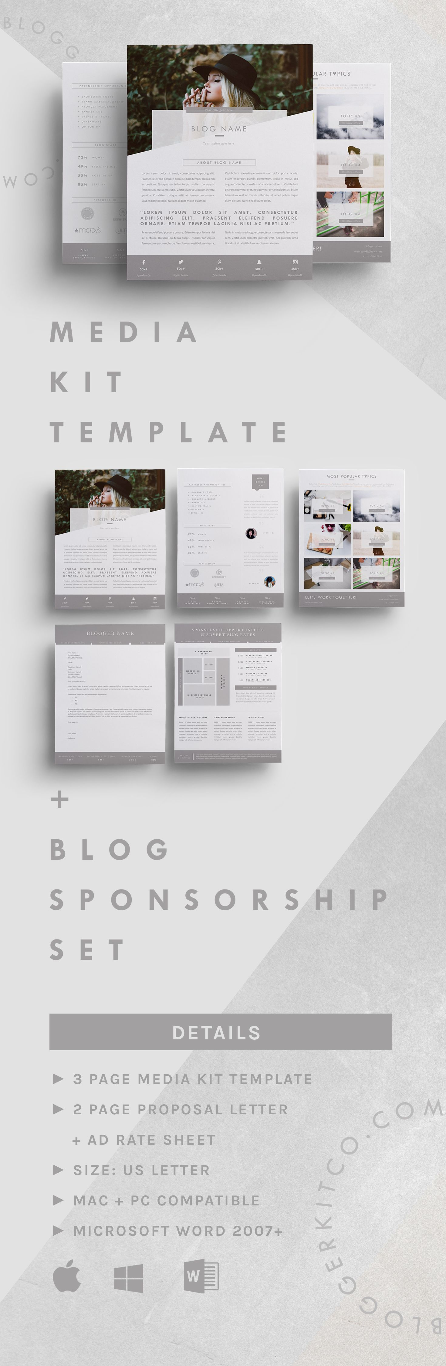 Blog Sponsorship Proposal Letter Template + Ad Rate Sheet (MS Word)