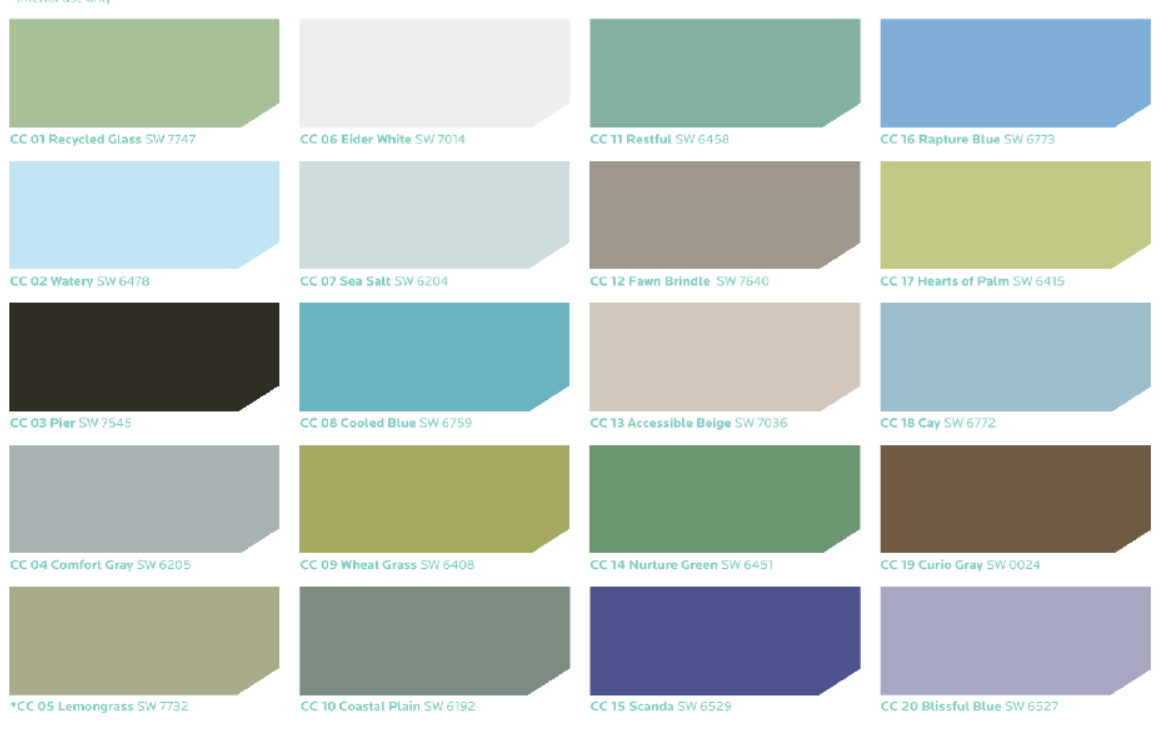 Sherwin Williams Coastal Cool Color Palette. Every Color
