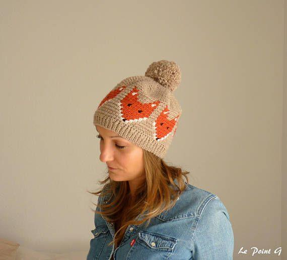 Bonnet motif Renard et son pompon pour adulte / chapeau bonnet