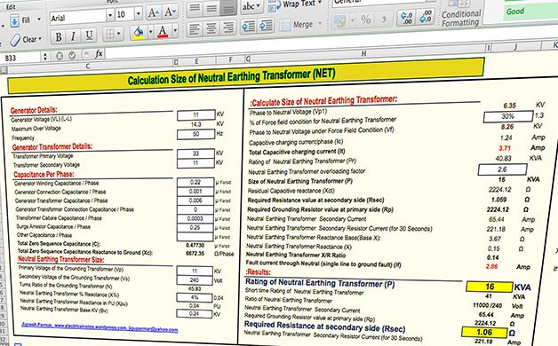 Spreadsheet To Calculate The Size Of Neutral Earthing Transformer