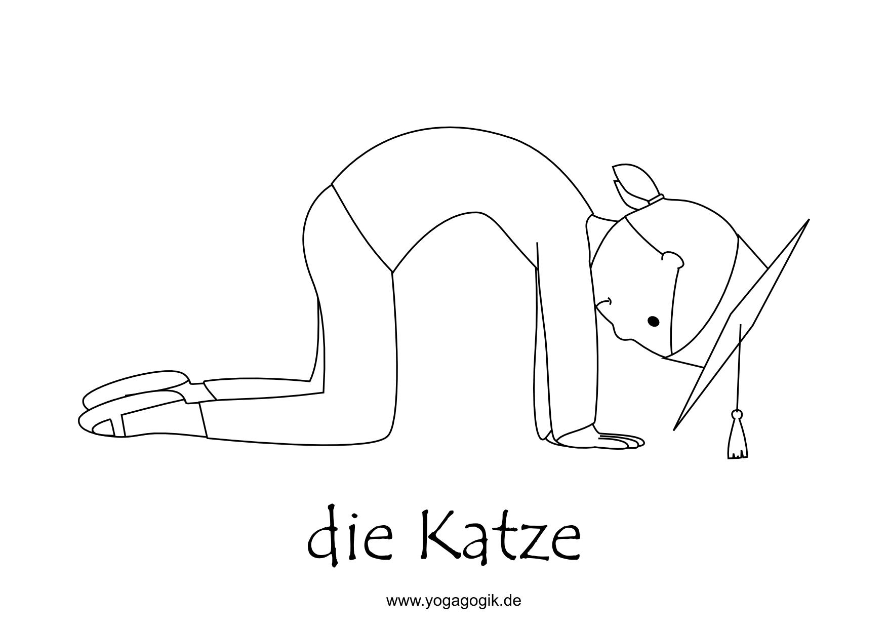 Ausmalbilder Zu Katzen : Kinderyoga Ausmalbild Katze Pinterest