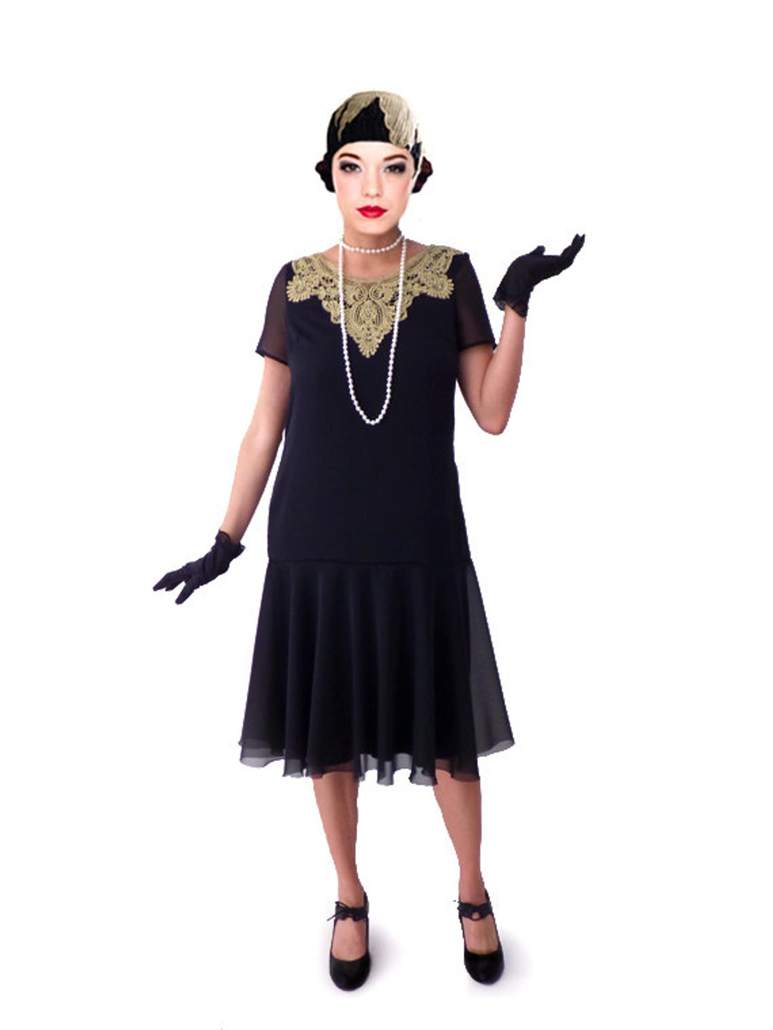 Gold collar 1920s dress for your flapper party with custom sizes ...