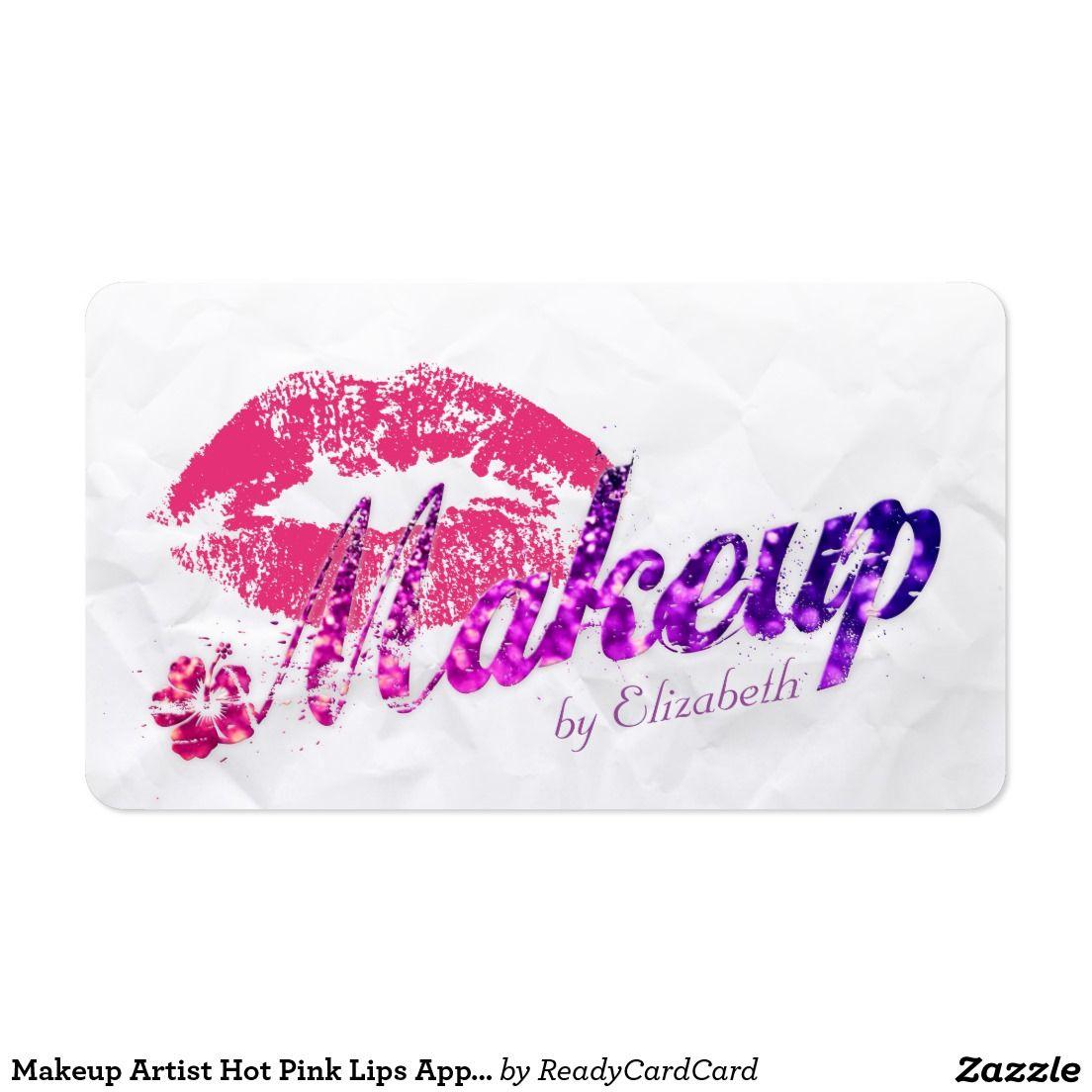 Makeup Artist Hot Pink Lips Appointment Business Card   MAKEUP ...