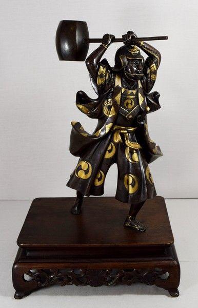 LARGE JAPANESE PARCEL GILDED BRONZE SAMURAI BY YOSHIMITSU