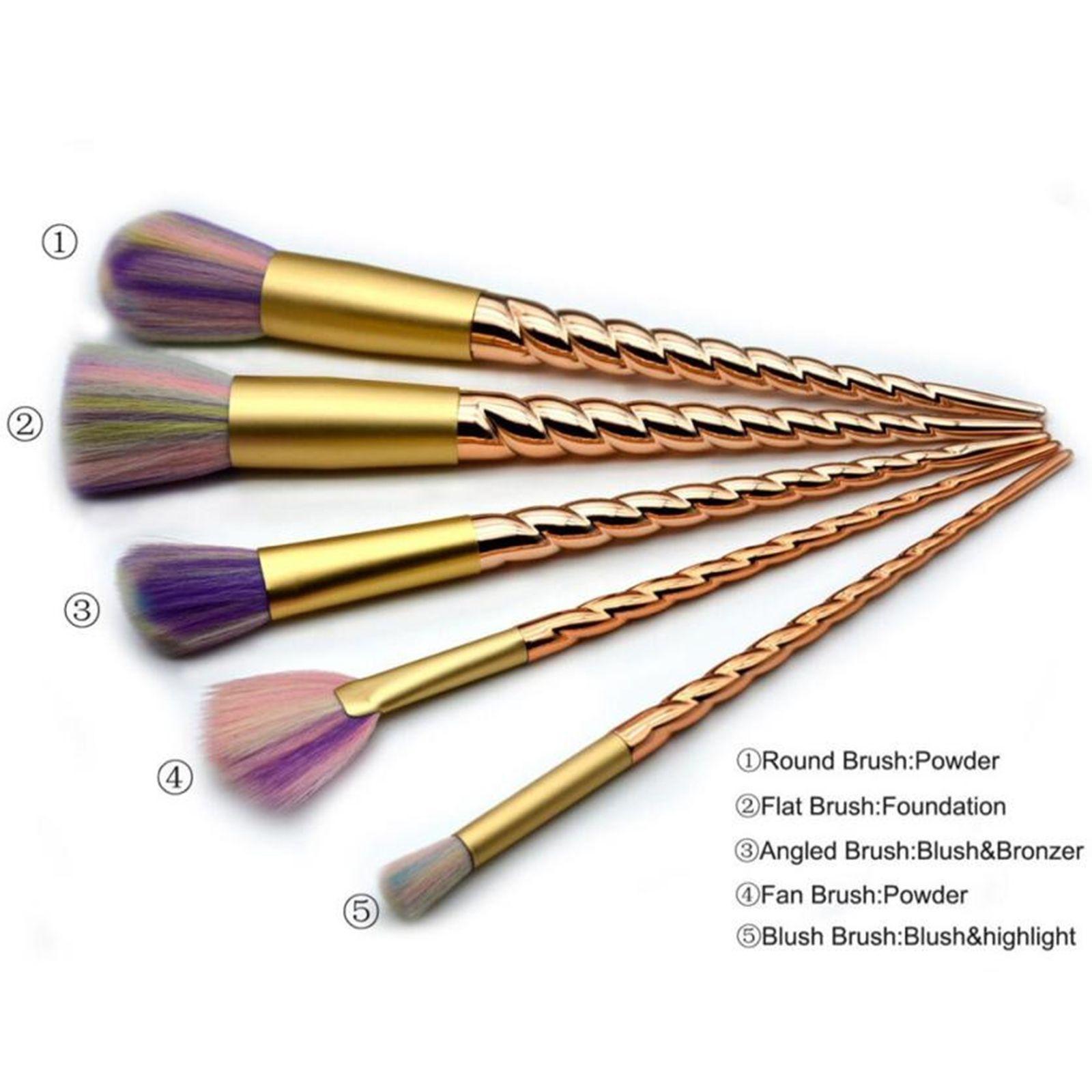 5pcs Gold Unicorn Makeup Brushes Professional Cosmetic