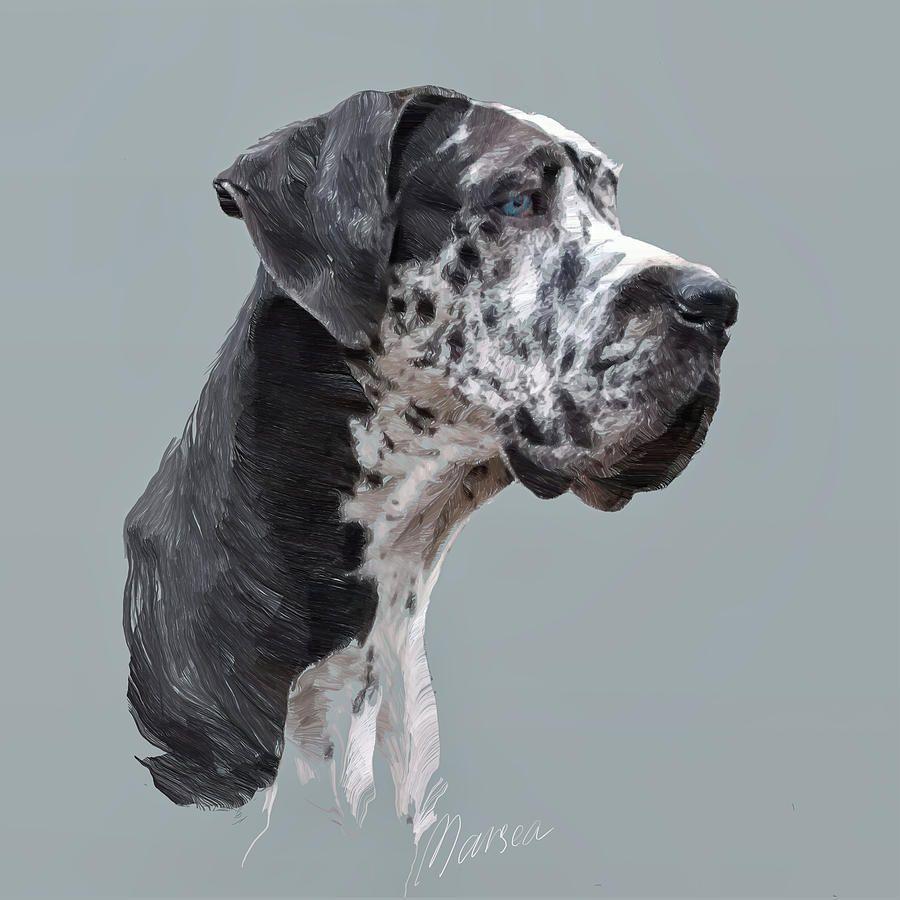 Great Dane By Marina Likholat Dog Art Dog Portraits Dog Paintings