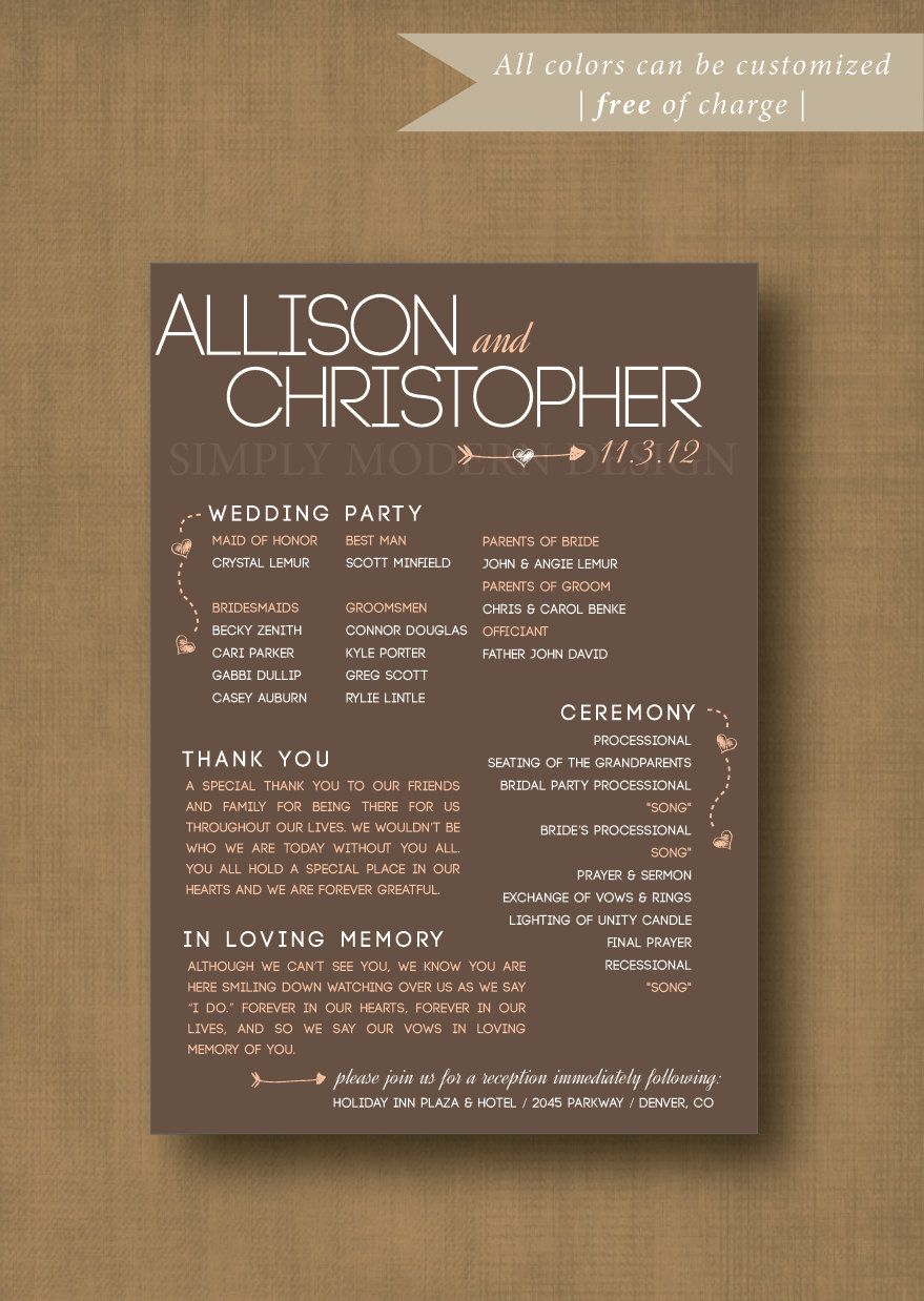 wedding ceremony wording samples%0A Printable Rustic  Modern  Fun Wedding Ceremony Program    x    Custom  Colors