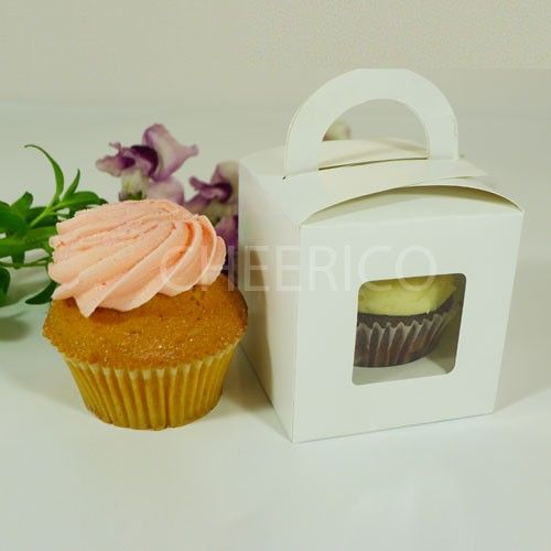 Decorative Bakery Boxes Awesome 1 Window Cupcake Box With Handle $115Pc X 25 Units  Httpgoo Decorating Inspiration