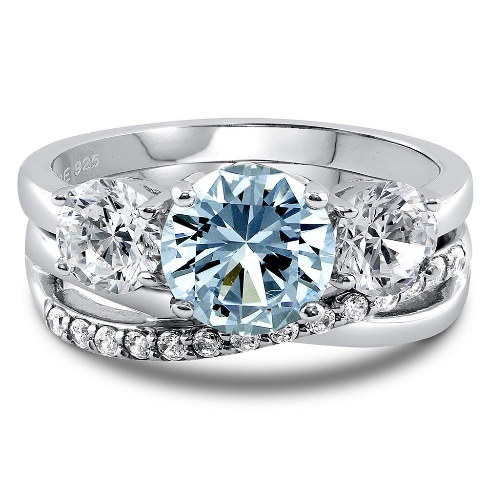3 Stone Ring Set with Round Cubic Zirconia in Sterling