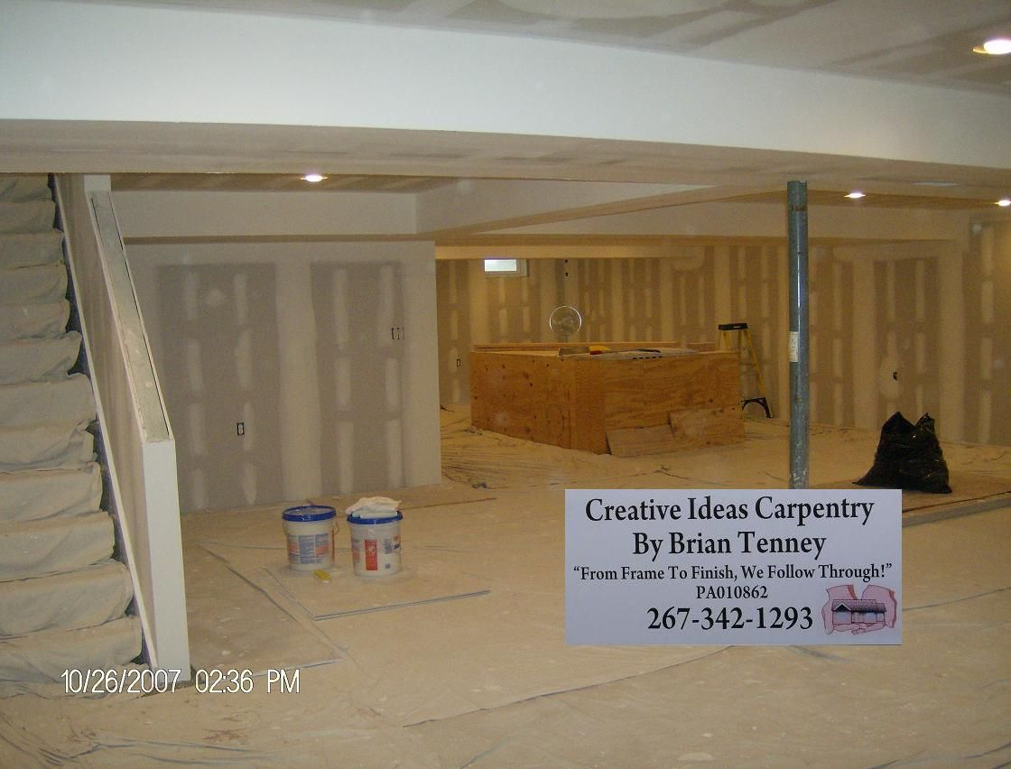 Drywall, Tape And Finish Of A 1200 Sq. Ft. Basement.