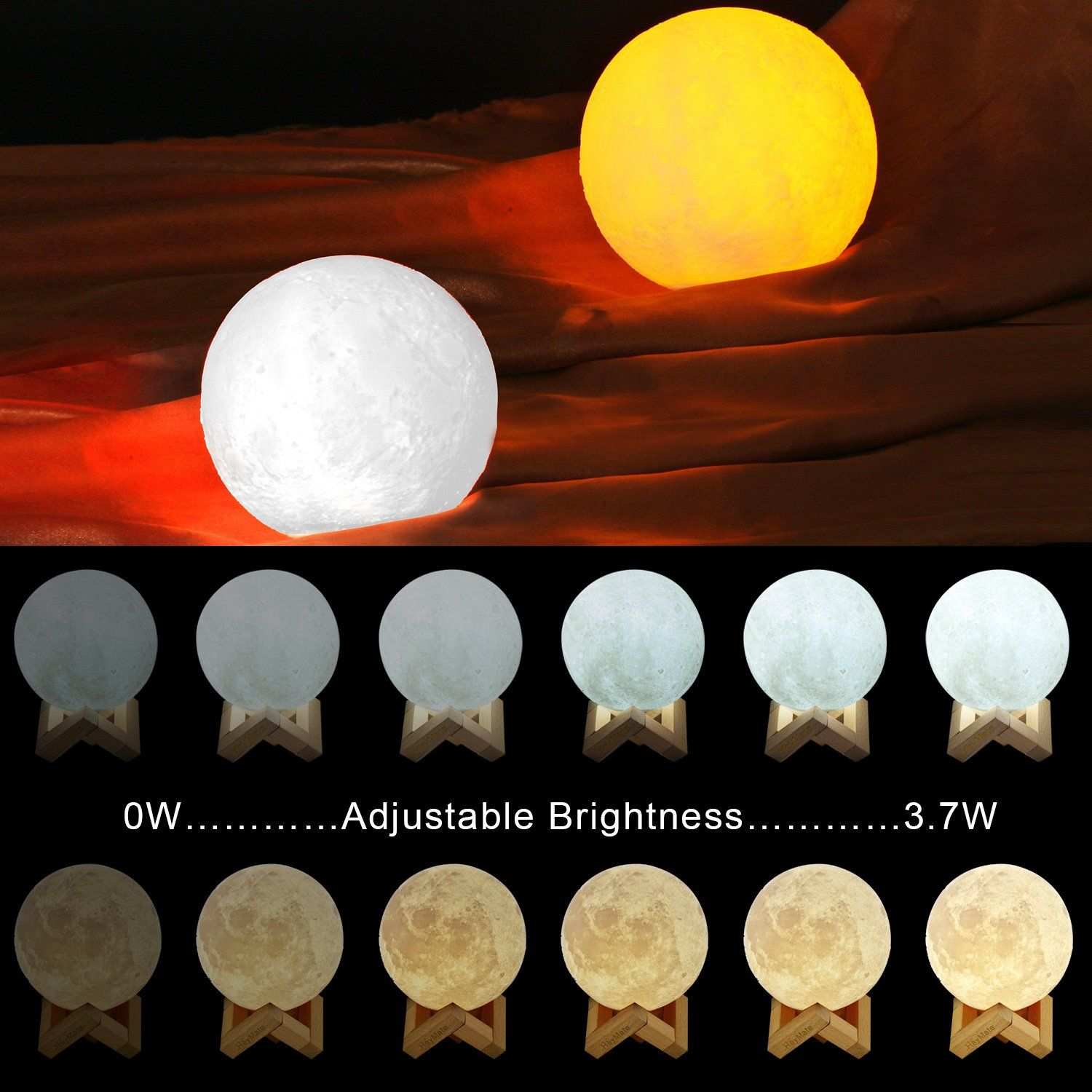 Heymate Moon Light 3d Printing Touch Sensor Dimmable 4 7 Moon Lamp With Wooden Stand Rechargeable Night Light For Desk Bedr Night Light Nursery Lamp Girl Gifts
