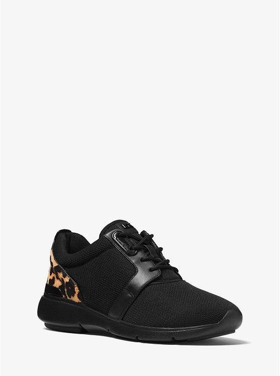 61f40415f8d0 Amanda Leopard Calf Hair and Mesh Sneaker