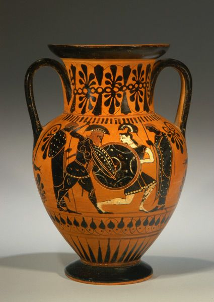 ATTIC BLACK-FIGURE AMPHORA A draped female between two warriors; possibly the capture of & ATTIC BLACK-FIGURE AMPHORA A draped female between two warriors ...
