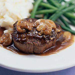 Filet Mignon with Sherry-Mushroom Sauce Recipe- Doesn't this look amazing!?