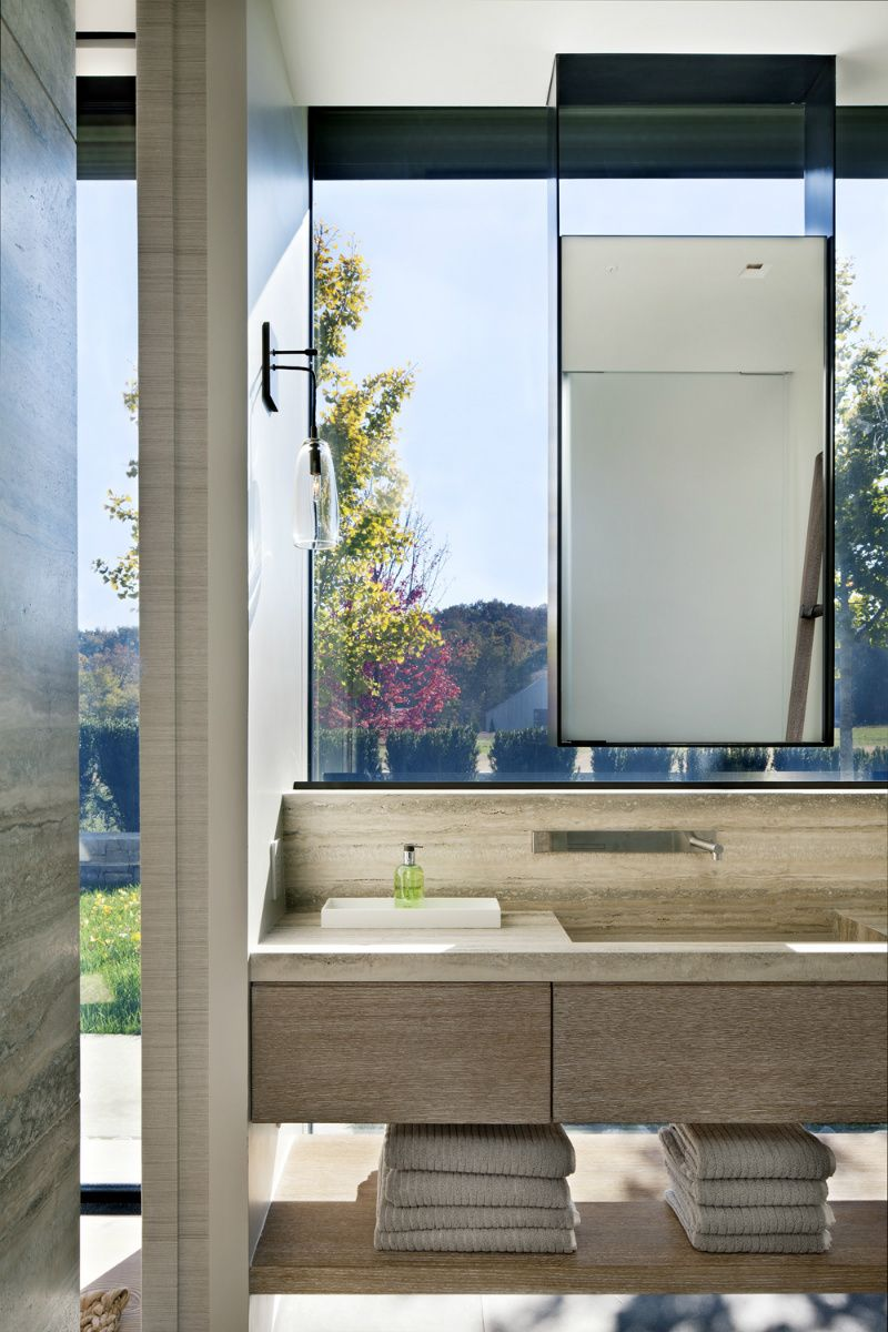 Bathroom Mirror In Front Of Window floating mirror in front of a window - bathroommeyer davis