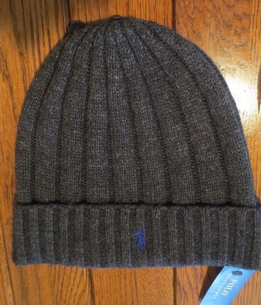 df66c30e2dc Polo ralph lauren men s beanie hat winter wool skull cap charcoal gray new