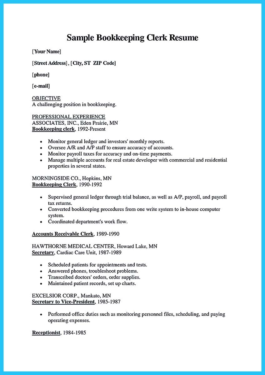 Unit Secretary Resume Bookkeeper Is A Position That Is Responsible For Some Basic Tasks