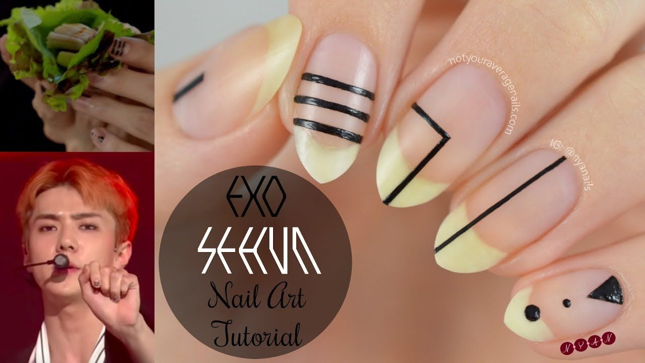 EXO Sehun Nail Art Tutorial Step by Step video | negative space ...