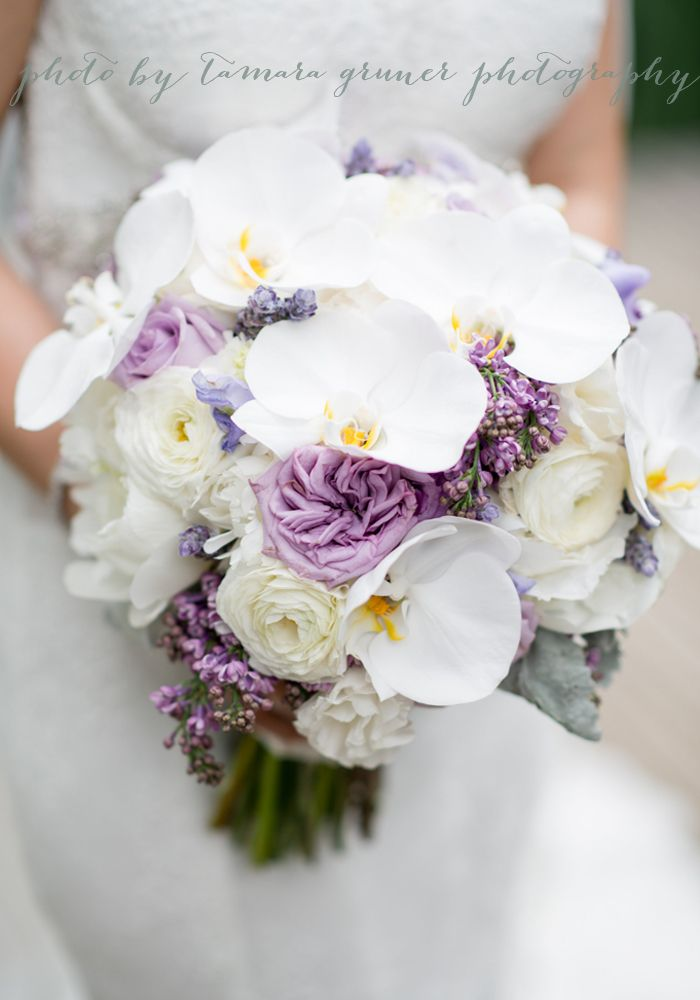 Garden Roses Peonies Ranunculus Orchids Lavender White Ivory Bouquet