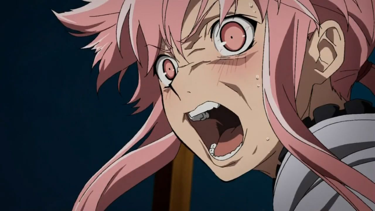 Yuno Gasai 1280 720 I Used This Image Fro Her Facial Expressions As She Makes A Really Angry Yet Angry In 2020 Angry Anime Face Anime Expressions Mirai Nikki