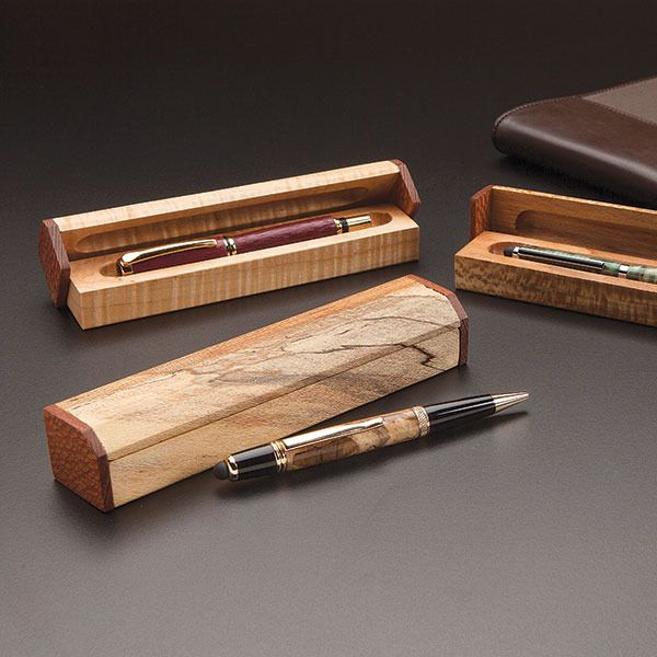 Two Brown Wooden Hand Turned Pen Ballpoint /& Gift Box Set