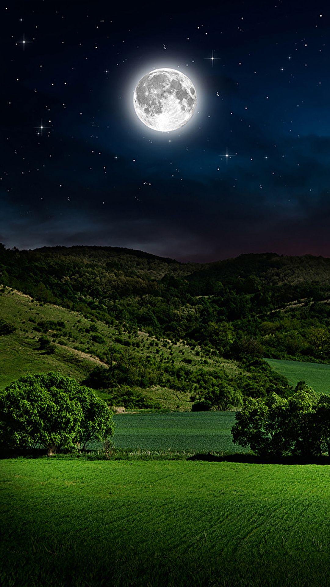 Moon And Sky Mountain iPhone 6 wallpaper Beautiful