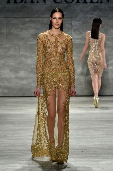 A model walks the runway at the Idan Cohen fashion show