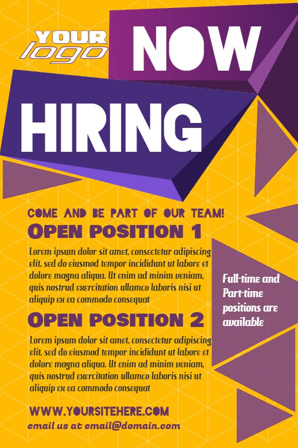 Yellow hiring poster design template Click to customize – Now Hiring Flyer Template