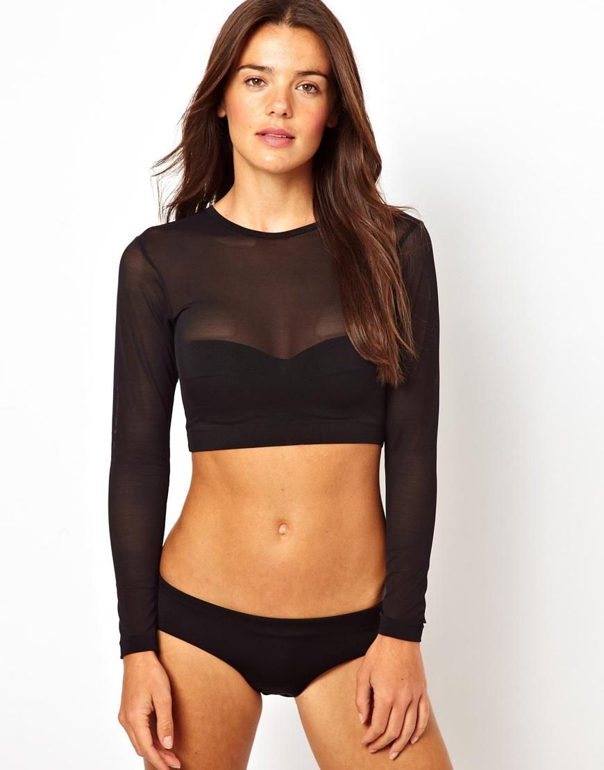 6065ac29992 ASOS | Long Sleeve Mesh Crop Bikini Top ❤️ It will be mine | Style ...