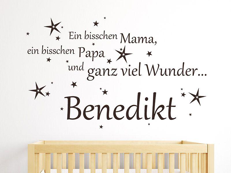 Marvelous Mit dem Wandtattoo Spruch zur Geburt Ein bisschen Mama ein bisschen Papa und ganz
