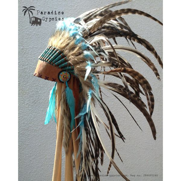 ON SALE Medium Length White Turquoise Feather Tan Headband Leather... (£86) ❤ liked on Polyvore featuring costumes, gypsy costume, adult star costume, adult gypsy costume, gypsie costume and gypsy halloween costume