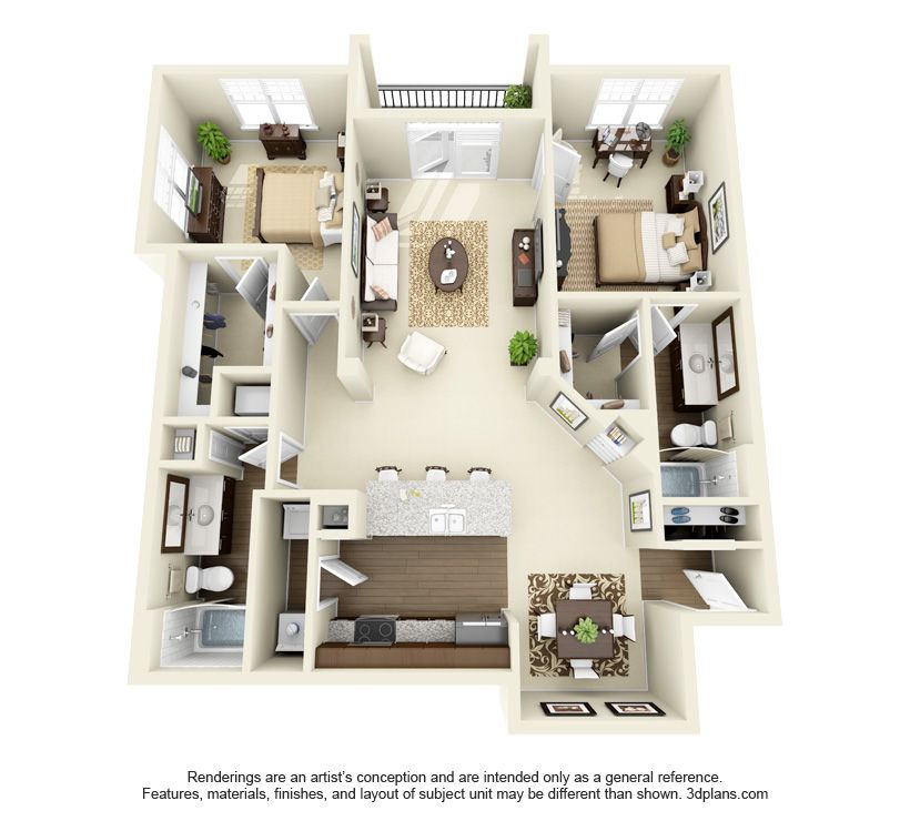 Somerset Floor Plan 2 Bd 2 Ba 1239 Sq Ft To 1262 Sq Ft Small House Plans Sims House Apartment Floor Plans
