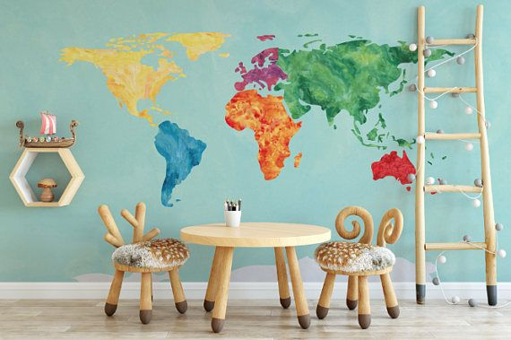 Rainbow watercolor effect world map self adhesive wallpaper rainbow watercolor effect world map peel and stick wallpaper gumiabroncs Images